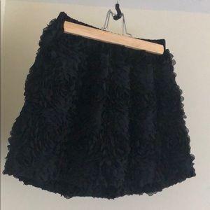 Textured Floral Black Skirt